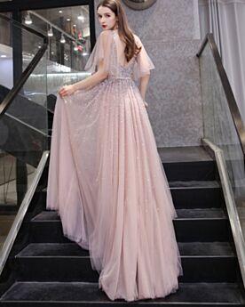 Maniche Corte Impero Rosa Antico Chic Lungo Luccicante Vestito Da Sera A-Line Scollo Profondo Schiena Scoperta