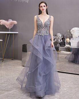 Hombros Al Aire Vestidos De Coctel Largos Acampanados Escotados Espalda Descubierta Con Perlas Con Volantes Bonitos Azul Pizarra Vestidos De Fiesta