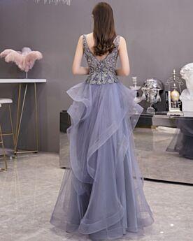 Robe De Bal Longue Princesse Robe Cocktail Décolleté Dos Nu Bleu Nuit À Volants Chic