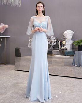 Open Back Chiffon Graduation Dresses Charming Light Blue Half Sleeve Mermaid Formal Prom Dress Juniors