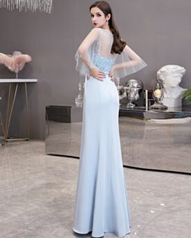Open Back Chiffon Graduation Dresses Charming Light Blue Half Sleeve Mermaid Formal Prom Dress Juniors