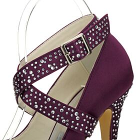 Round Toe With Rhinestones Plum 5 inch High Heeled Stilettos Elegant Pumps Shoes Platform Prom Shoes