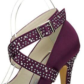 Zapatos De Fiesta Elegantes De Plataforma Stiletto Tacon Alto 13 cm Strass Berenjena Zapatos Mujer