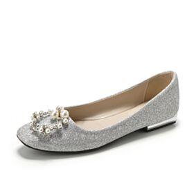 Ballerina Zilveren Trouwschoenen Glitter Platte Sparkle Luxe Met Parel