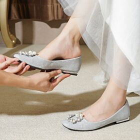 Chaussure Mariée Scintillante Bout Rond Perle Argenté Glitter Ballerine Femme Luxe