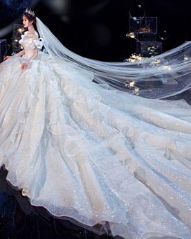 Lange Met Staart Trouwjurken Witte Off Shoulder Glitter Sparkle Laag Uitgesneden Luxe Elegante Open Rug