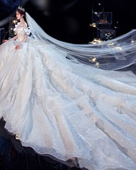 Long With Train Wedding Dresses White Off The Shoulder Glitter Sparkly Plunge Gorgeous Charming Backless
