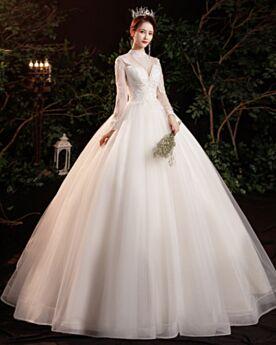 Trasparente Bianco Collo Alto Schiena Scoperta Giardino Maniche Lunghe Eleganti Vestiti Da Sposa