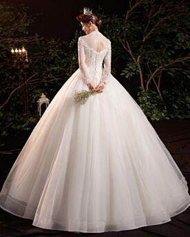 A Lijn Bruidsjurken Hoge Kraag Lange Kanten Doorkijk Lange Mouwen Applique Witte Elegante Tule