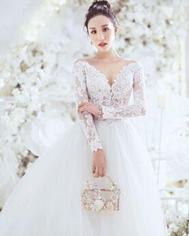 Boule Dentelle Luxe Robes De Mariée Appliques Blanche Manche Longue Dos Nu Élégant D ete