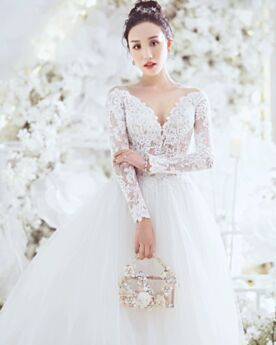 Tul Vestidos De Novia Encaje Espalda Descubierta Manga Larga Escotados De Lujo Elegantes Blancos