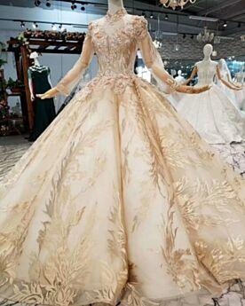 Hochzeitskleider Tiefer Ausschnitt Applikationen Lange Elegante Gold Herrlich Lange Ärmel Glitzer Spitzen