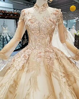 Lace With Train Gold Long Sleeved Wedding Dress Church Glitter Ball Gown Low Cut See Through Beautiful
