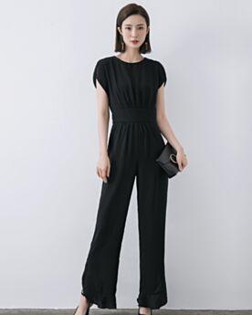 De Gasa Largos Escote Redondo Pantalones Talle Slto Sencillos Con Cinturon Negros Rectos Monos De Vestir