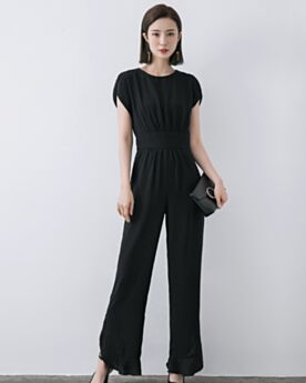 Scoop Neck Simple Black Split Shift High Waisted Pants Casual Dress Long Jumpsuits Outfits