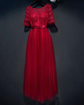Rundhalsausschnitt Rückenausschnitt Hochzeitsgäste Kleider Elegante Burgunderrot Spitzen