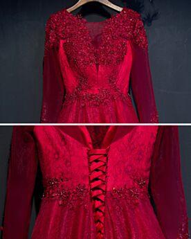 Perlen Lange Lange Ärmel Abendkleider Spitzen 2019 Kleider Hochzeitsgäste Burgunderrot Partykleider Schönes Rückenausschnitt