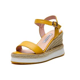 Mit 8 cm Absatz Leder Gelb Sandaletten Keilabsatz Espadrilles Bequeme Geflochtene