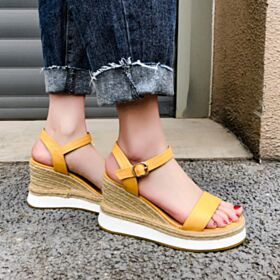 Womens Sandals Espadrilles Platform Braided Going Out Shoes Comfortable Wedges 8 cm High Heels Yellow