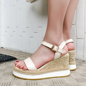 8 cm High Heel Sandals Wedges Braided Comfort White Womens Shoes Espadrilles Leather