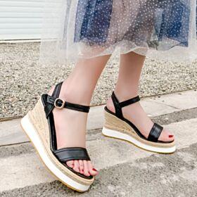 Comfort Espadrilles 3 inch High Heel Sandals Leather Wedges