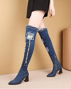 7 cm Mid Heels Denim Block Heel Over The Knee Boots Pointed Toe Tall Boot Ripped Stretch Chunky Heel