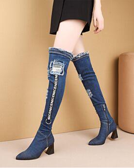 Löcher Chunky Heel Jeans Damenschuhe Spitz Zeh Stiefel Overknee