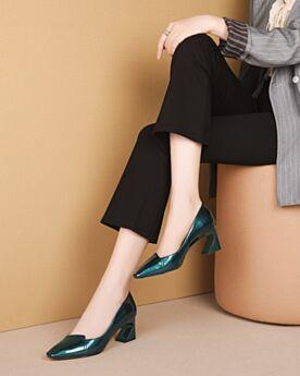 Stöckelschuhe Lack Leder Mit 6 cm Absatz Blockabsatz 2020 Chunky Heel