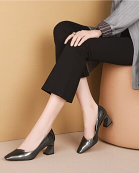 Pumps Business Schuhe 2020 Mit Mittel Heel Chunky Heel Leder Spitz Zeh