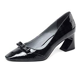Chunky Heel Business Schuhe Lack Schwarz Stöckelschuhe Mit Schleife 2020