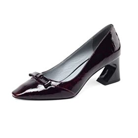 Thick Heel Pumps Shoes 6 cm Heeled Pointed Toe Burgundy Fashion Patent Work Shoes