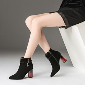8 cm High Heel Wildleder Winter Schuhe Chunky Heel Stiefeletten Klassisch Schwarz Gefütterte