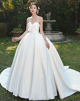 Met Volant Met Staart Simpele Sweetheart Satijnen Witte Bruidsjurken Vintage Elegante Strapless