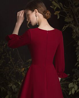 Semi Formal Dresses Elegant Burgundy Fit And Flare Mother Of Bridal Dress For Wedding Short Long Sleeves