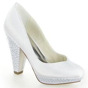 Elegante Bruidsschoenen Pumps Steentjes High Heels Witte Blokhakken Ronde Neus