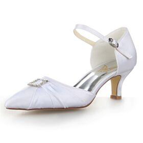 Blanche Sandales Strass Talon Aiguille Chaussure De Mariée 2020 Avec Bride Cheville Bout Pointu Élégant 4 cm Petit Talon