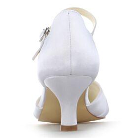 Sandalen Spitz Zeh Weiß Brautschuhe Knöchelriemen Kitten Heel Elegante Stilettos