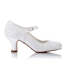 6 cm Tacones En Punta Fina Merceditas 2020 Zapatos Con Tacon Zapatos De Novia Elegantes Tacon Ancho Blancos Encaje