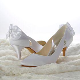 Eleganti Bianchi Tacchi A Spillo Tacco Alto A Punta Raso Scarpe Da Sposa Con Fiocco Decollete