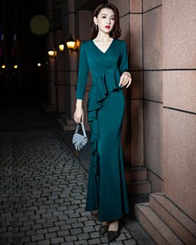 長袖 シンプル な v ネック シース イブニングドレス サテン ロング 結婚式母親ドレス フリル 5121310365