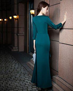 Longue Manche Longue Élégant Robe Mère De Mariée Simple Bleu Pétrole À Volants Droite