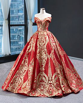 Quinceanera Dress Off The Shoulder Elegant Open Back Glitter Prom Dresses Sequin Red Ball Gown Long