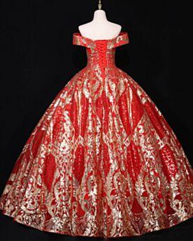 Boule Robe De Bal Rouge Manche Courte Sequin Glitter Brillante Robe Quinceanera Longue Dos Nu Élégant Epaule Dénudée