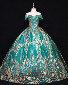 Sequin Élégant Dos Nu Princesse Robe De Bal Turquoise Epaule Dénudée