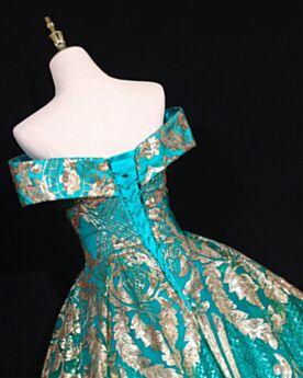 Pailletten Baljurk Open Rug Mooie Galajurk Turquoise Vintage Korte Mouwen