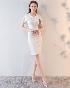 Bleistift Schößchen Cocktailkleid Schlichte Abschlusskleid Sommer Kurze Weiß