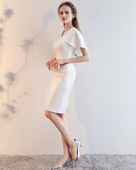 Short White Peplum Sheath Cocktail Dresses Chiffon 2018 Simple