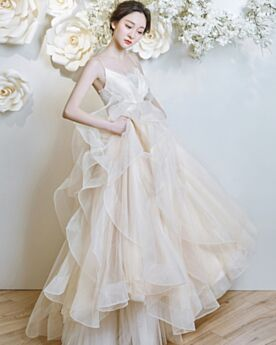 A Line Ruffle Beach Lace Ivory Spring Backless Organza Wedding Dress Spaghetti Strap 2018
