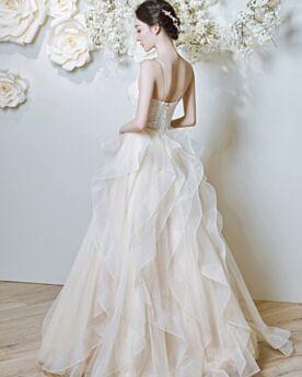 A Line Ruffle Beach Lace Ivory Spring Backless Organza Wedding Dress Spaghetti Strap 2018