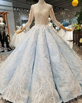 Gorgeous Quinceanera Dress Ball Gowns Long Sleeved Sweet 16 Dress Lace Low Cut Glitter Prom Dresses Long